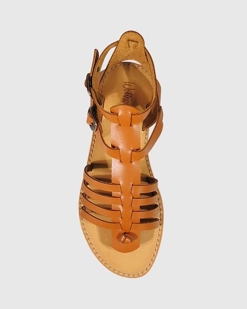 Capucina Tan Leather Flat Sandal. & Wittner & Wittner Shoes