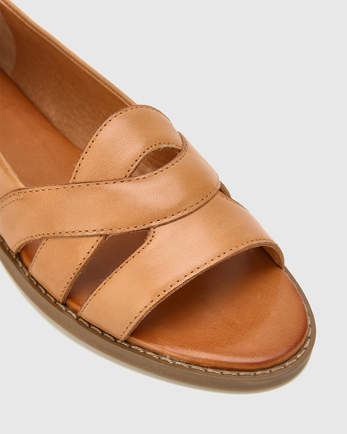 Julieta Tan Leather Open Toe Slip On Flat. & Wittner & Wittner Shoes