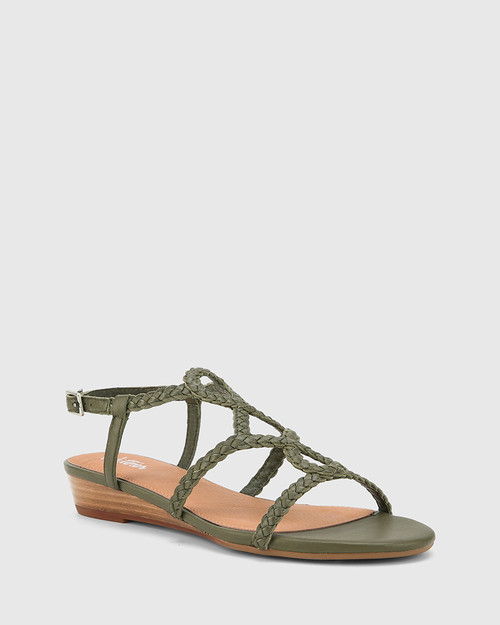 Tinsley Army Leather Low Wedge Flat Sandal.