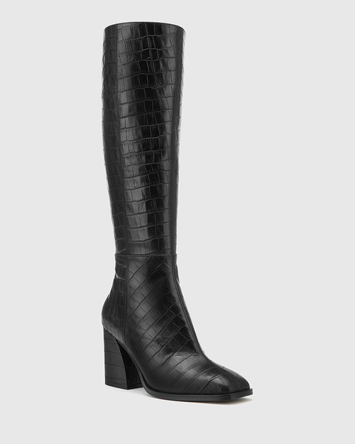 Sammie Black Croc-Embossed Leather Long Boot