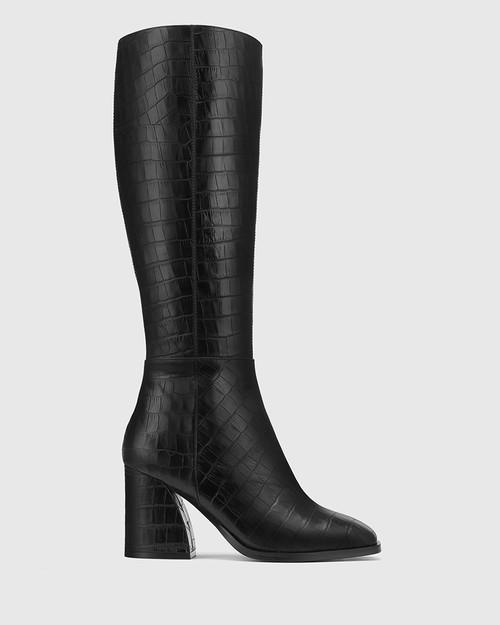 Sammie Black Croc-Embossed Leather Long Boot & Wittner & Wittner Shoes