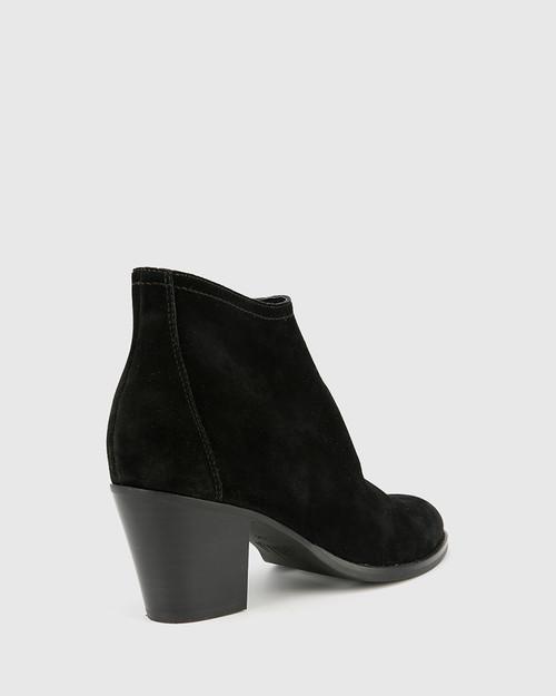 Kylar Black Suede Leather Round Toe Block Heel Ankle Boot. & Wittner & Wittner Shoes