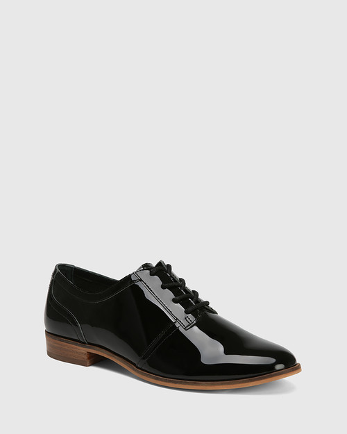 Heathrow Black Patent Leather Lace Up Brogue