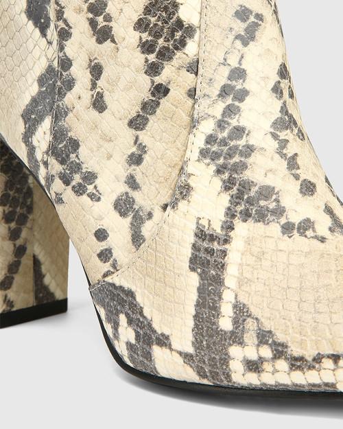 Handy Buttercream Anaconda Print Leather Long Boot & Wittner & Wittner Shoes