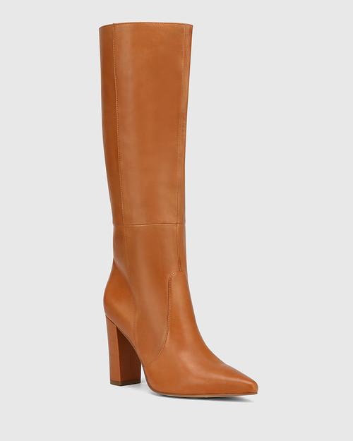 Handy Tan Leather Block Heel Long Boot