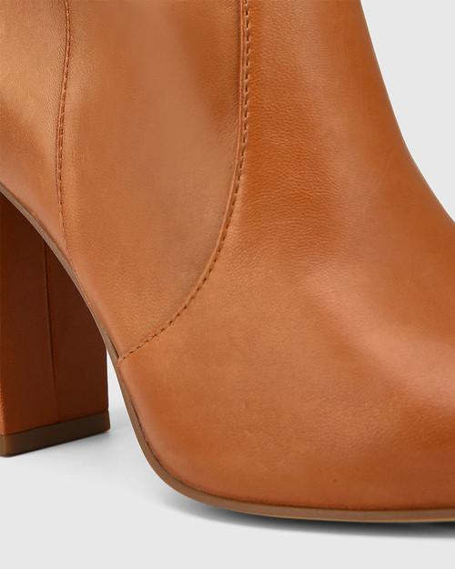 Handy Tan Leather Block Heel Long Boot & Wittner & Wittner Shoes