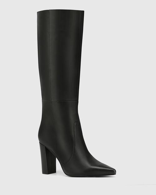 Handy Black Leather Block Heel Long Boot