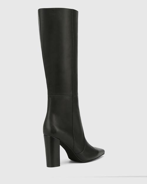 Handy Black Leather Block Heel Long Boot & Wittner & Wittner Shoes