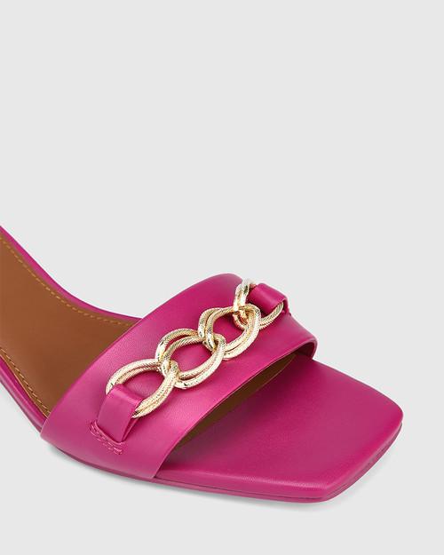 Jacqueline Magenta Leather Chain Detail Kitten Heel & Wittner & Wittner Shoes