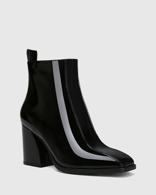Stewart Black Patent Leather Square Toe Ankle Boot