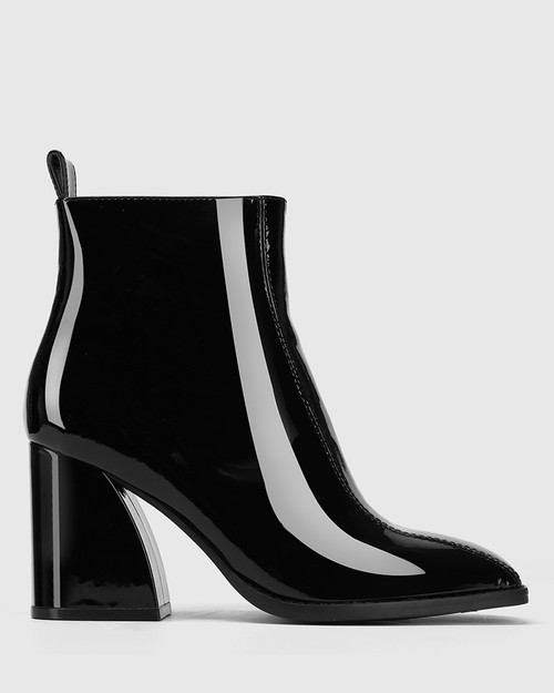 Stewart Black Patent Leather Square Toe Ankle Boot & Wittner & Wittner Shoes