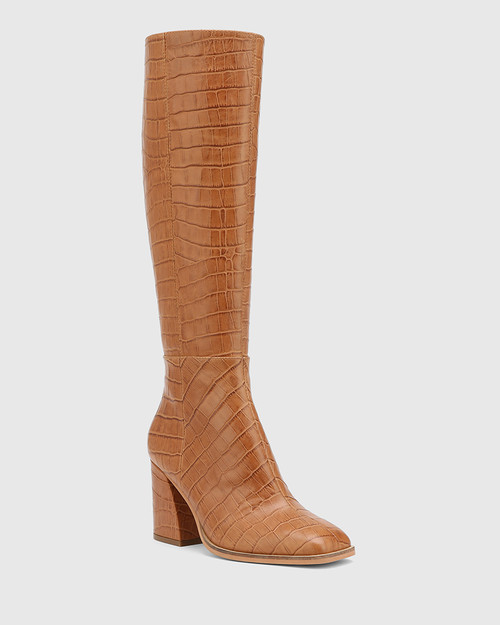 Sammie Tan Croc-Embossed Leather Long Boot