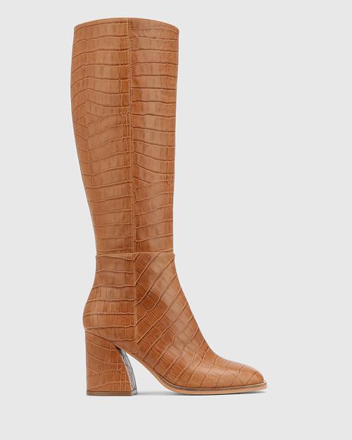 Sammie Tan Croc-Embossed Leather Long Boot & Wittner & Wittner Shoes