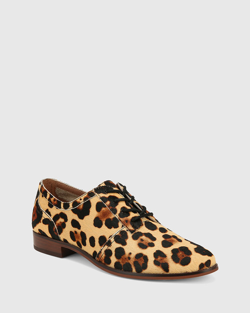 Heathrow Leopard Print Hair-on Leather Lace Up Brogue