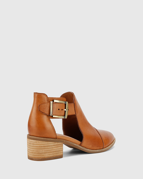 Isbal Coconut Scotch Leather Block Heel Buckle Ankle Boot. & Wittner & Wittner Shoes