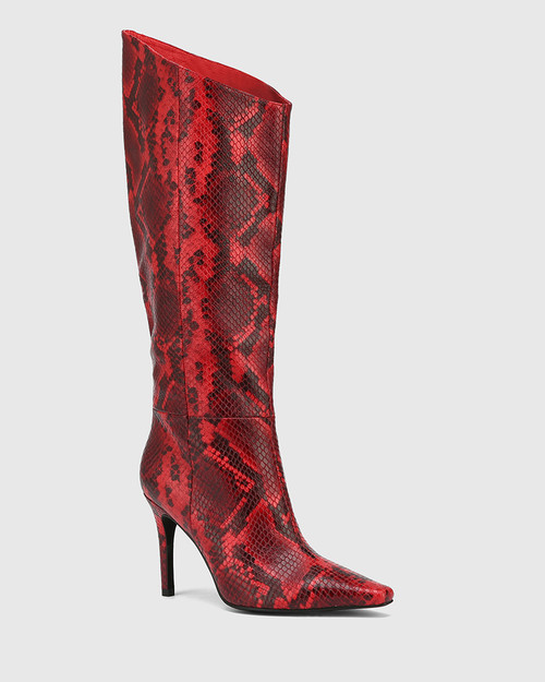 Herodes Red Anaconda Leather Stiletto Heel Long Boot & Wittner & Wittner Shoes