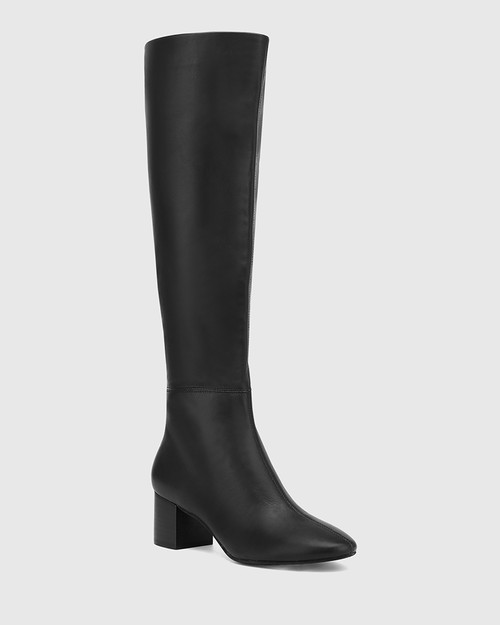 Aniya Black Leather Round Toe Long Boot