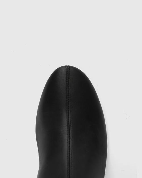 Aniya Black Leather Round Toe Long Boot & Wittner & Wittner Shoes