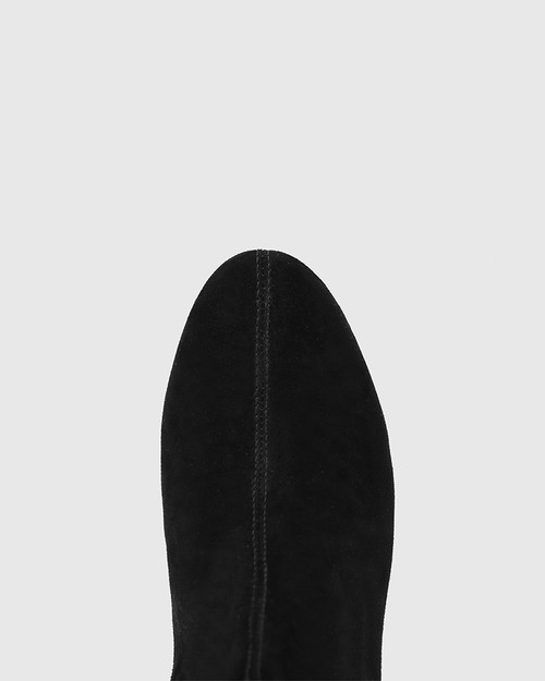 Aniya Black Suede Leather Round Toe Long Boot & Wittner & Wittner Shoes