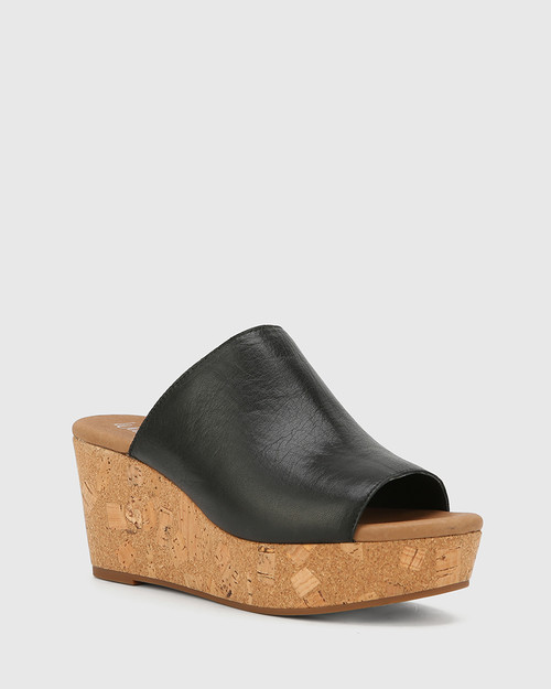 Hadleigh Black Leather Wedge Heel. & Wittner & Wittner Shoes