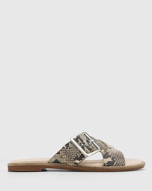 Clooney Ecru Slice Snake Leather Crossed Strap Buckle Slide. & Wittner & Wittner Shoes