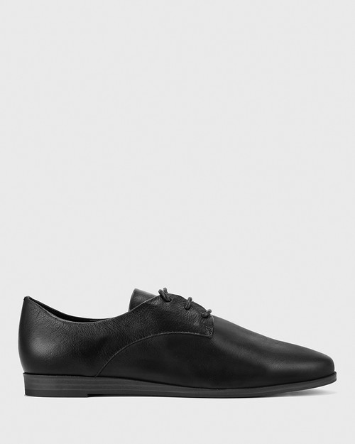 Cecelia Black Leather Low Wedge Lace Up Brogue. & Wittner & Wittner Shoes