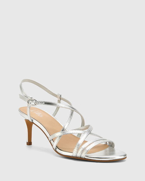 Nhalo Silver Leather Stiletto Heel Sandal. & Wittner & Wittner Shoes