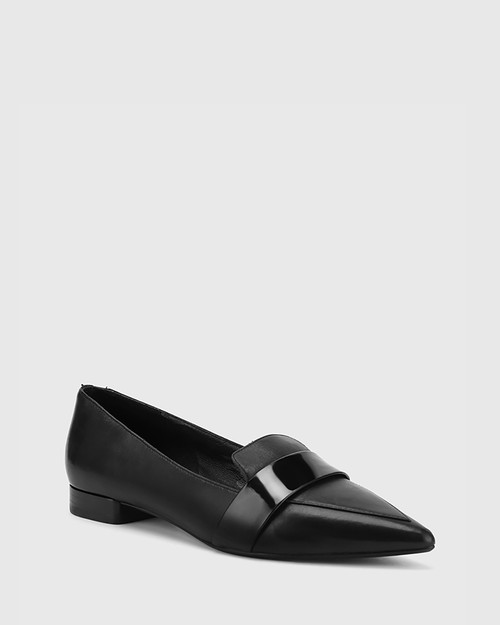 Maisy Black Leather Pointed Toe Loafer.