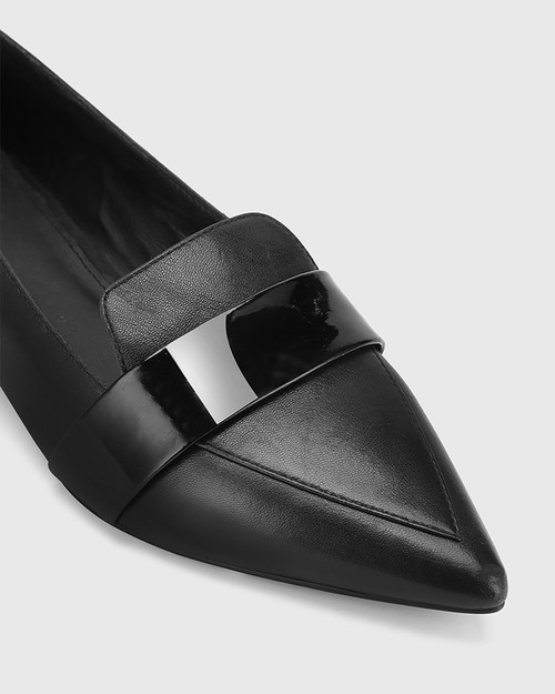 Maisy Black Leather Pointed Toe Loafer. & Wittner & Wittner Shoes