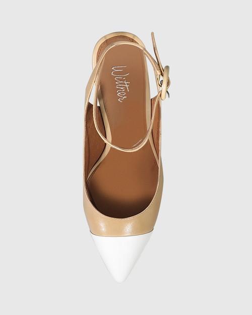 Helaine Natural Leather White Toe Cap Block Heel. & Wittner & Wittner Shoes