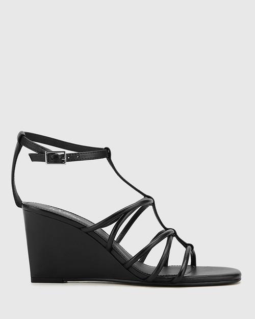 Carra Black Leather Open Toe Wedge Sandal.