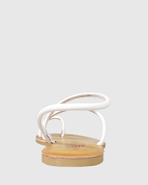 Flinton White Leather Open Toe Flat Sandal. & Wittner & Wittner Shoes