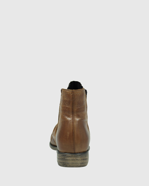 Demitri Brandy Leather Stretch Round Toe Block Heel Ankle Boot.