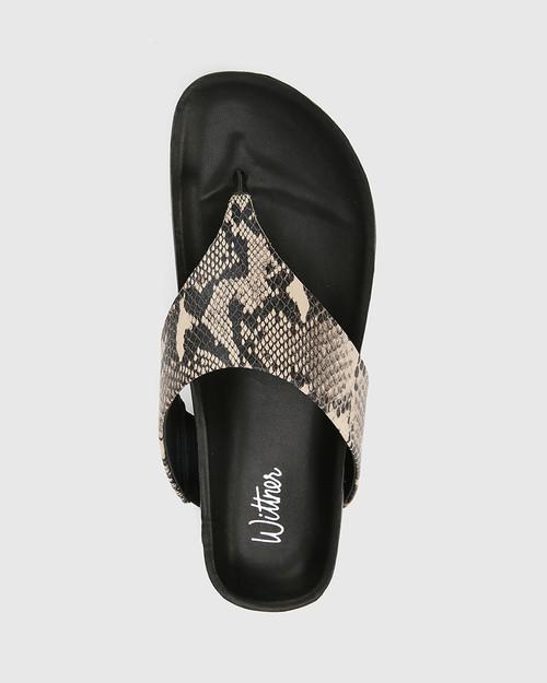 Erma Ecru Snake Print Leather Platform Thong Sandal. & Wittner & Wittner Shoes