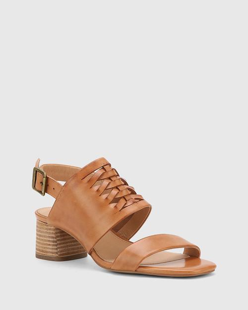 Devanti Tan Leather Plaited Front Blocked Heel Sandal.