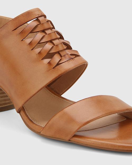 Devanti Tan Leather Plaited Front Blocked Heel Sandal. & Wittner & Wittner Shoes