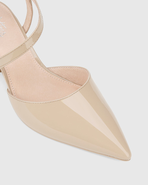 Grammy New Flesh Patent Leather Pointed Toe Block Heel.