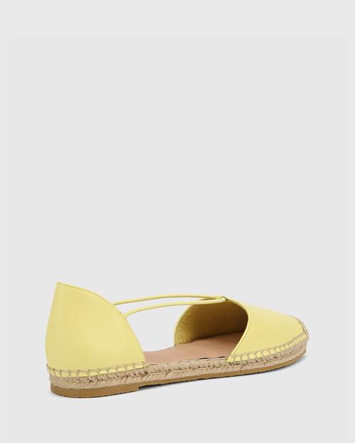 Elgin Sunshine Yellow Leather Espadrille Flat. & Wittner & Wittner Shoes