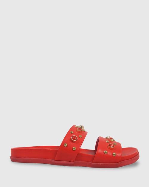 Kit Red Leather Red Diamonte Flat Slide. & Wittner & Wittner Shoes