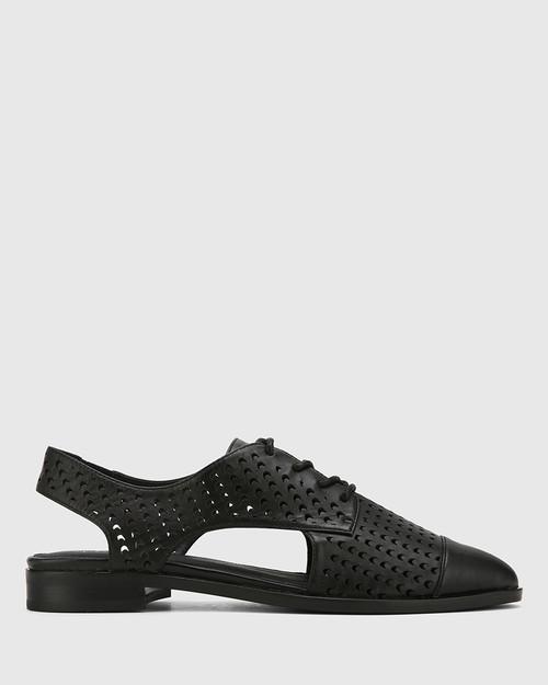 Erving Black Leather Lasercut Flat Brogue. & Wittner & Wittner Shoes