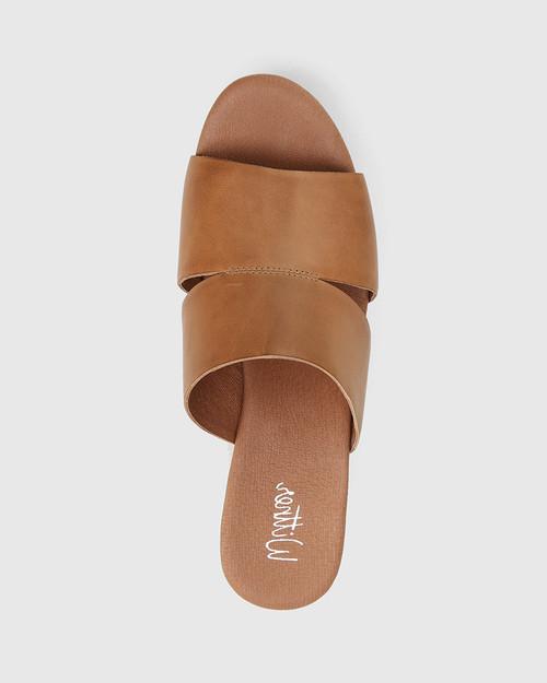 Henrico Tan Leather Open Toe Wedge Heel . & Wittner & Wittner Shoes