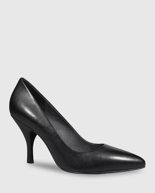 Julienne Black Leather Almond Toe Mid Heel. & Wittner & Wittner Shoes