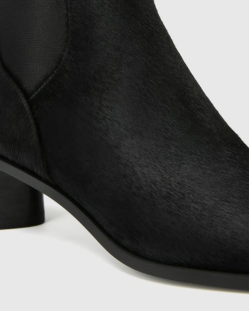Yumi Black Leather Elastic Gusset Ankle Boot & Wittner & Wittner Shoes