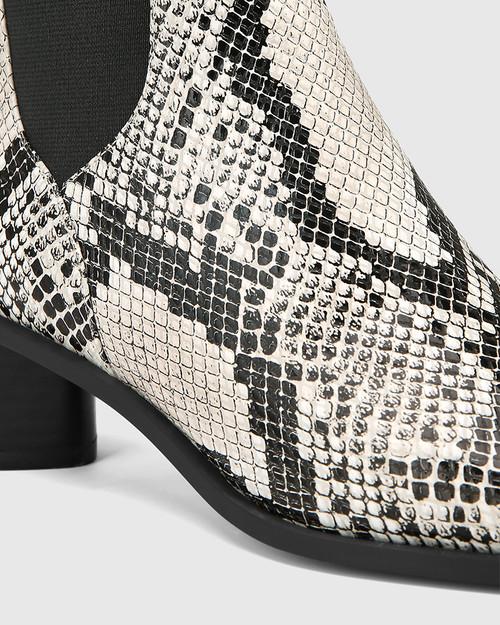 Yumi Natural Snake Print Leather Elastic Gusset Ankle Boot & Wittner & Wittner Shoes