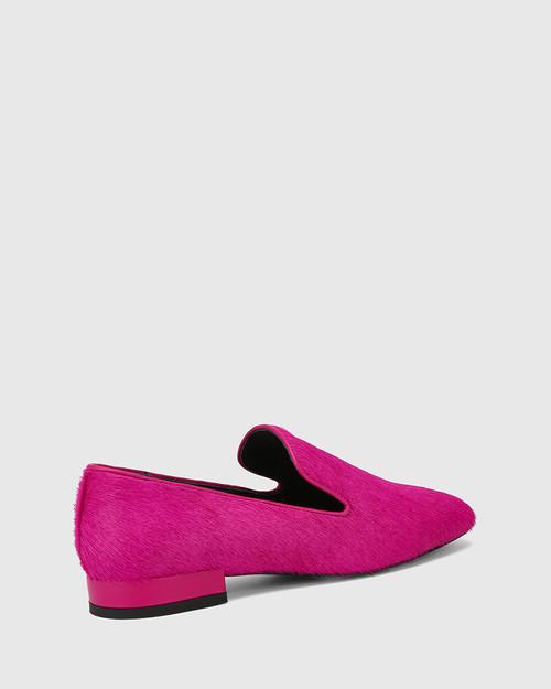 Yara Magenta Hair-on Leather Almond Toe Loafer & Wittner & Wittner Shoes