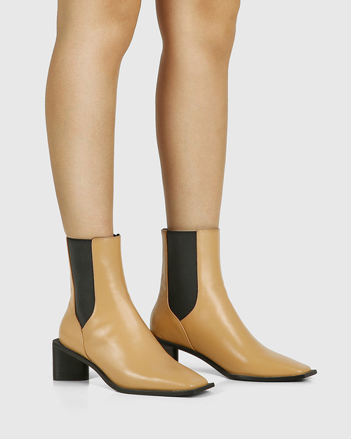 Yumi Camel Leather Elastic Gusset Ankle Boot & Wittner & Wittner Shoes