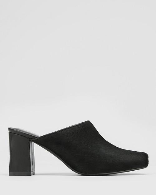 Yessica Black Hair-on Leather Block Heel Mule