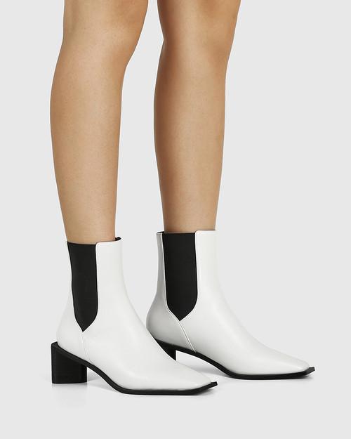 Yumi White Leather Elastic Gusset Ankle Boot & Wittner & Wittner Shoes