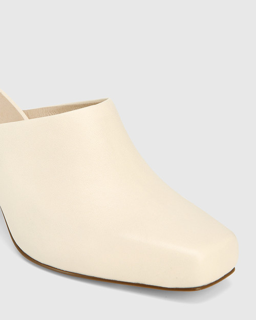 Yessica Cream Leather Block Heel Mule & Wittner & Wittner Shoes