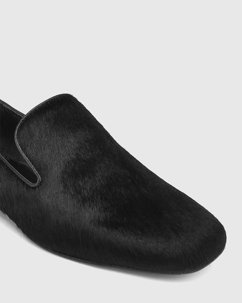 Yara Black Hair-on Leather Almond Toe Loafer & Wittner & Wittner Shoes